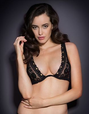 Agent Provocateur STEVIE BRA 32D in BLACK FRENCH LACE & GOLD EYELETS - BNWT
