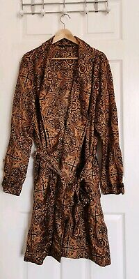 "Vtg St Michael's M&S Paisley Gold Navy Satin Lightweight Dressing Gown 46"" XL"