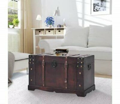 Large Wooden Treasure Chest Table For Storage Box Vintage Clothes Magazines Book