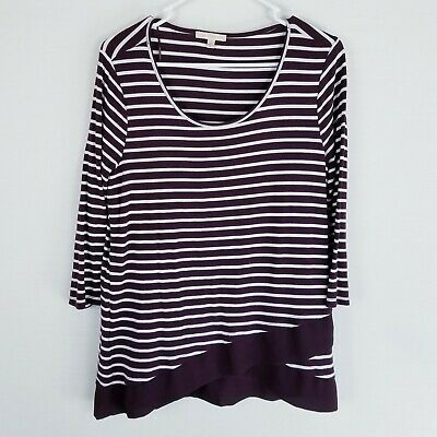 cbb9a20064d Skies are blue stitch fix striped asymmetrical tunic top M burgandy white  sheer