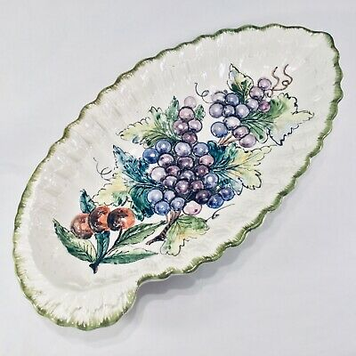 Vintage Hand Painted Ceramic Platter Tray Italy Grapes Cherries Textured Design