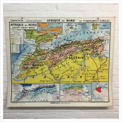 Industrial Vintage French Hatier Vintage Map of North Africa