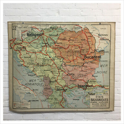 Industrial Vintage French School Vidal Lablache Hatier Wall Map of Balkan States