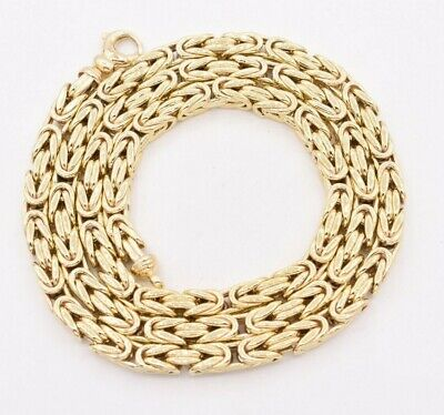5mm Classic Square Byzantine Link Chain Necklace REAL 10K Yellow Gold