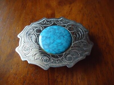 Belt Buckle Nickel Silver Faux Turquoise Country Dress approx. 3.5x2.75 in (BB)