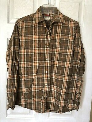 J.Crew Stretch Cotton Plaid Brown Orange Long Sleeve Button Front Shirt Mens - S