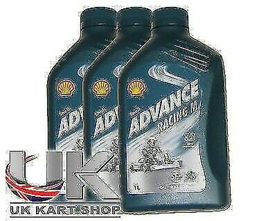 Shell Advance Racing M 2 Tempi Olio 1L x 3 Rotax Max Iame X30 Tkm UK Kart Store