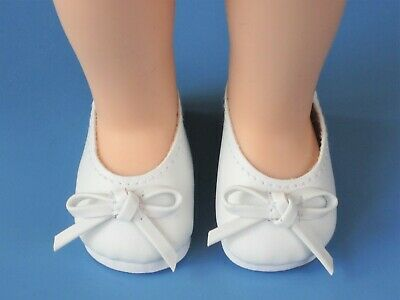 """WHITE Ballet Flats Doll Shoes For 14/"""" American Girl Wellie Wisher Wishers Debs"""