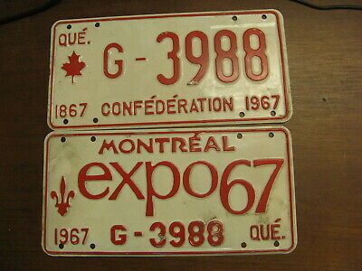 1967 67 Quebec Pq License Plate Montreal Expo Pair G-3988