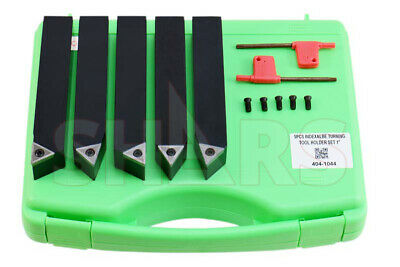 "Shars 1"" 5Pc Indexable Carbide Inserts Turning Tool Bit Set New"