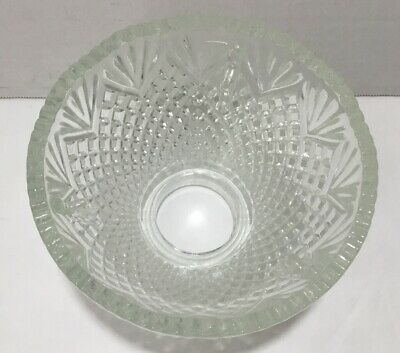 Vintage Clear Cut Glass Heavy Lamp Shade Globe Scalloped Edges
