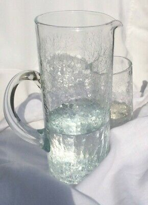 Vintage hand blown crackle glass pitcher and two glasses/ transparent set