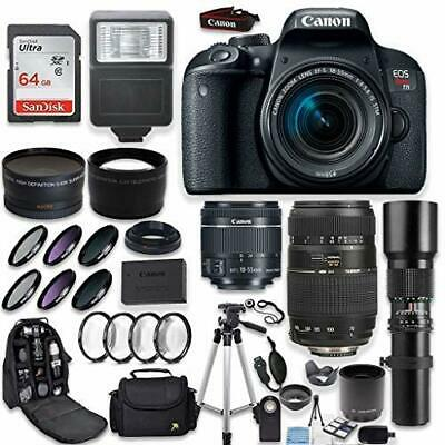 Canon EOS Rebel T7i DSLR Camera + (3) Lenses and Deluxe Accessory Bundle