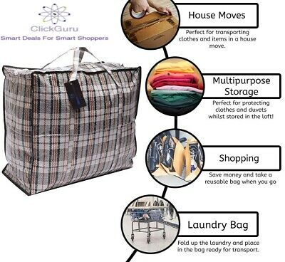 Strong Laundry Bags-For Laundry/ Shopping / Moving/ Storage -Zipped and Reusable