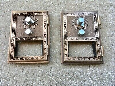Vintage Brass POST OFFICE MAIL BOX DOORS Lot of 2