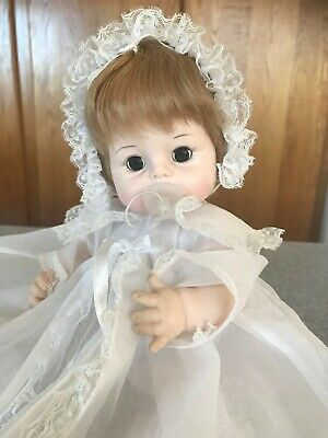 "1965 Madame Alexander 13"" Sweet Tears Baby Doll Original Christening + Pacifier"