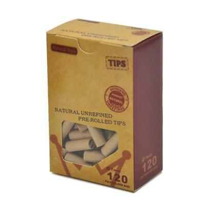 120x 7MM Pre-rolled Natural UnRefined Cigarette Filter Rolling Paper Tips
