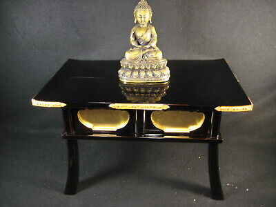 Antique Japanese 90 Year Old Buddhist Altar Stand Offering Table Black Lacquer