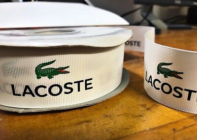 "LACOSTE GROSGRAIN RIBBON 2 Yds 1.5"" Width Green Alligator Black Text brand new"
