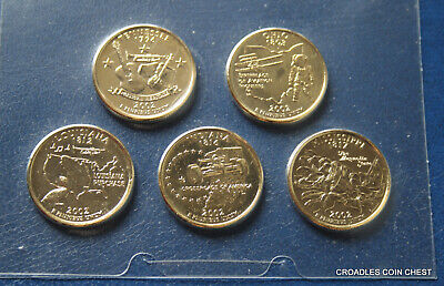 2002 Gold Plated Usa Quarters 5 Coin Set Limited Edition  High Cv Nice #Wka30