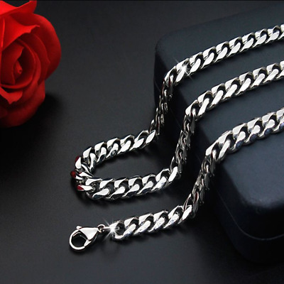 Man Women 316L Stainless Steel 3mm//5mm Silver Cuban Curb Chain Necklace