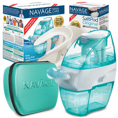 NAVAGE NASAL CARE DELUXE BUNDLE w/48 SaltPods,Caddy & Travel Case (Neti Pot)