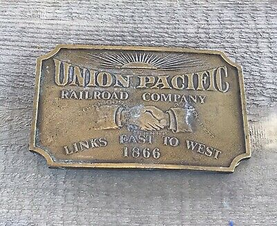 Vintage Union Pacific Railroad Company Links East To West 1866 Belt Buckle