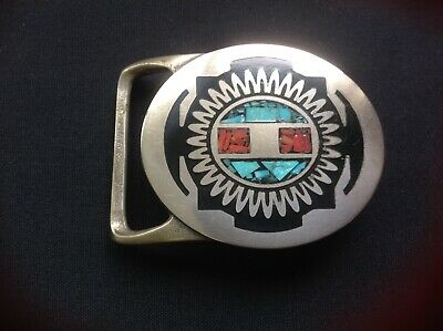 Tech-Ether Guild limited edition belt buckle,coral,turquoise,Choctaw