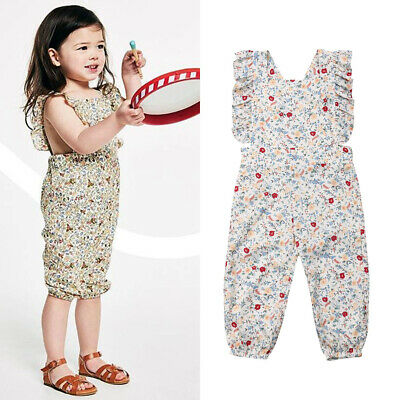 Summer Toddler Baby Girl Clothes Floral Romper Jumpsuit Ruffle Bodysuit Playsuit