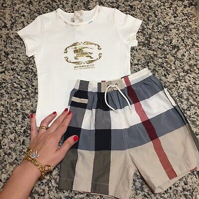 18 Months (12m) Authentic Burberry Baby Boy Set T-shirt Swim Trunk Check Shorts