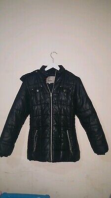 Preowned Girls quilted hooded rain and winter  Jacket Age 14 years