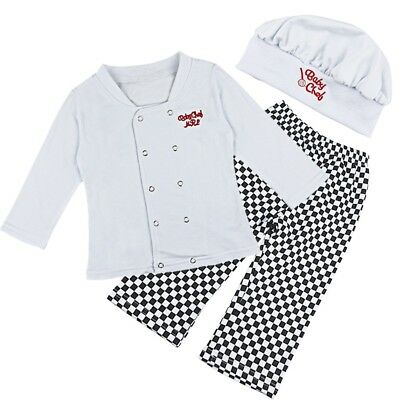 Baby Boy Girl Cook Chef Carnival Party Fancy Dress Hat Costume Outfits Photo Set
