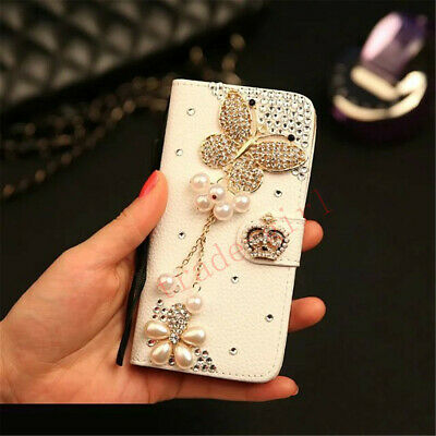 Girls Bling Glitter Flip Leather Diamond Pearl Wallet Case Card Slot Stand Cover