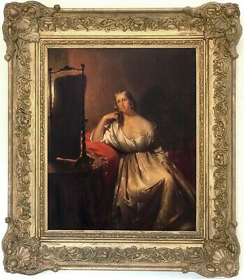Young Beauty by Candlelight Antique Oil Painting Petrus Kiers (Dutch, 1807-1875)