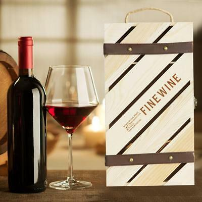 Wooden Dual Wine Bottle Box Case Craft Christmas Birthday Wedding Party Gift