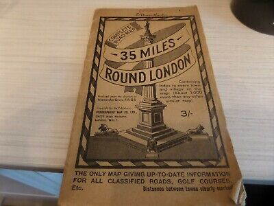 Vintage Complete 35 Miles Round London Road Map