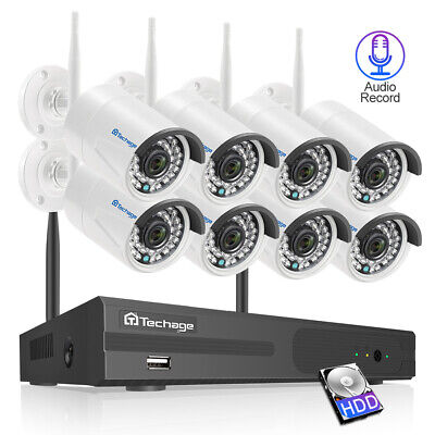 Techage 8CH 1080P Wireless NVR 2.0MP WifI IP Camera Audio Sound Security System