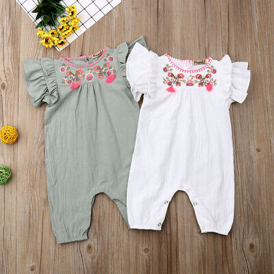 Baby Girl Infant Ruffle Floral Romper Bodysuit Jumpsuit Outfits Clothes Summer