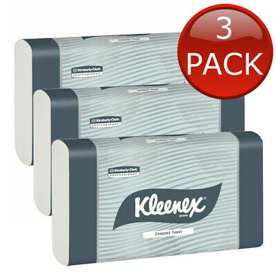 3 x KLEENEX COMPACT HAND PAPER TOWEL REFILL 90 SHEET OFFICE HOME CLEANING TOOLS