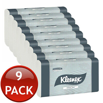 9 x KLEENEX COMPACT HAND PAPER TOWEL REFILL 90 SHEET OFFICE HOME CLEANING TOOLS