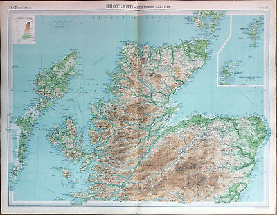 """ SCOTLAND - Northern Section "" MAP (1922) - Times Atlas of the World Pl.22"