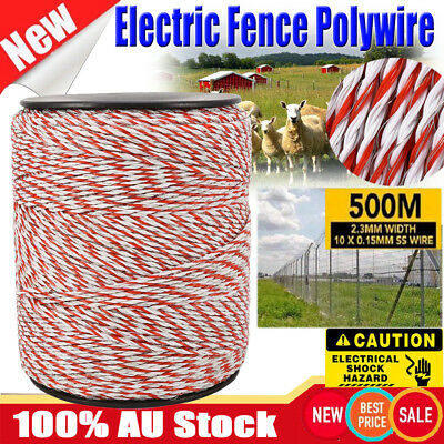 500M Roll Polywire Electric Fence Stainless Poly Wire Energiser Insulator HOT