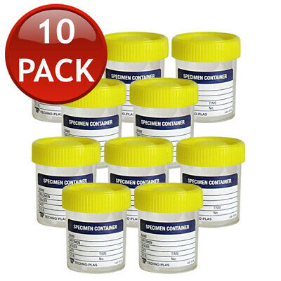 10 x URINE LAB SPECIMEN CONTAINERS STERILE JARS CUPS LEAKPROOF LABEL YELLOW LID