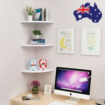 White 3 Tier Corner Wall Mount Shelf DVD CD Bookshelf Storage Mordern Display AU