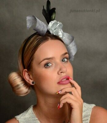Black And Silver/Grey Fascinator With Flower, Ribbon And Feathers