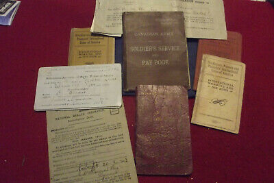 Veteran Lot Of WW II Pay Book Vet Card Union Booklets Health Ins Etc Documents