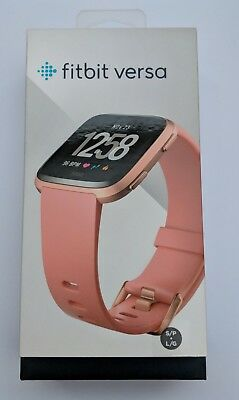 New Fitbit Versa Activity Tracker Watch Sleep Exercise - Peach / Rose Gold S & L