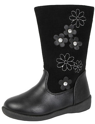 Kids Black Faux Suede Leather Knee High Boots School 3D Flower Winter Shoes