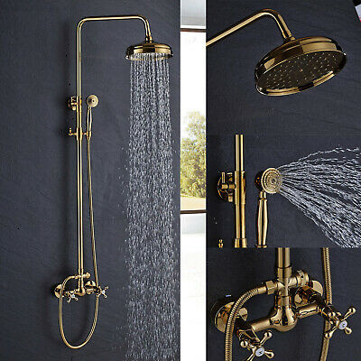 Oil Rubbed Bronze Rain Shower Faucet Set Wall Mount Hand Shower Tub Mixer Tap