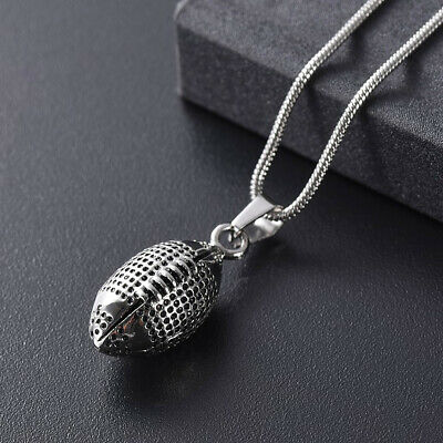 Silver Rugby Ball Cremation Stainless Steel Urn Pendant Necklace Jewellery Ashes
